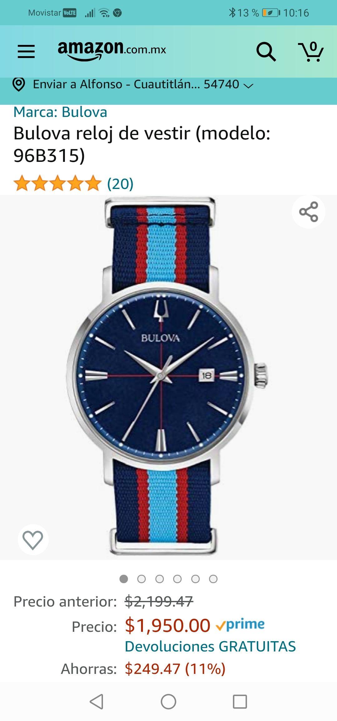 Amazon: Bulova reloj de vestir (modelo: 96B315)