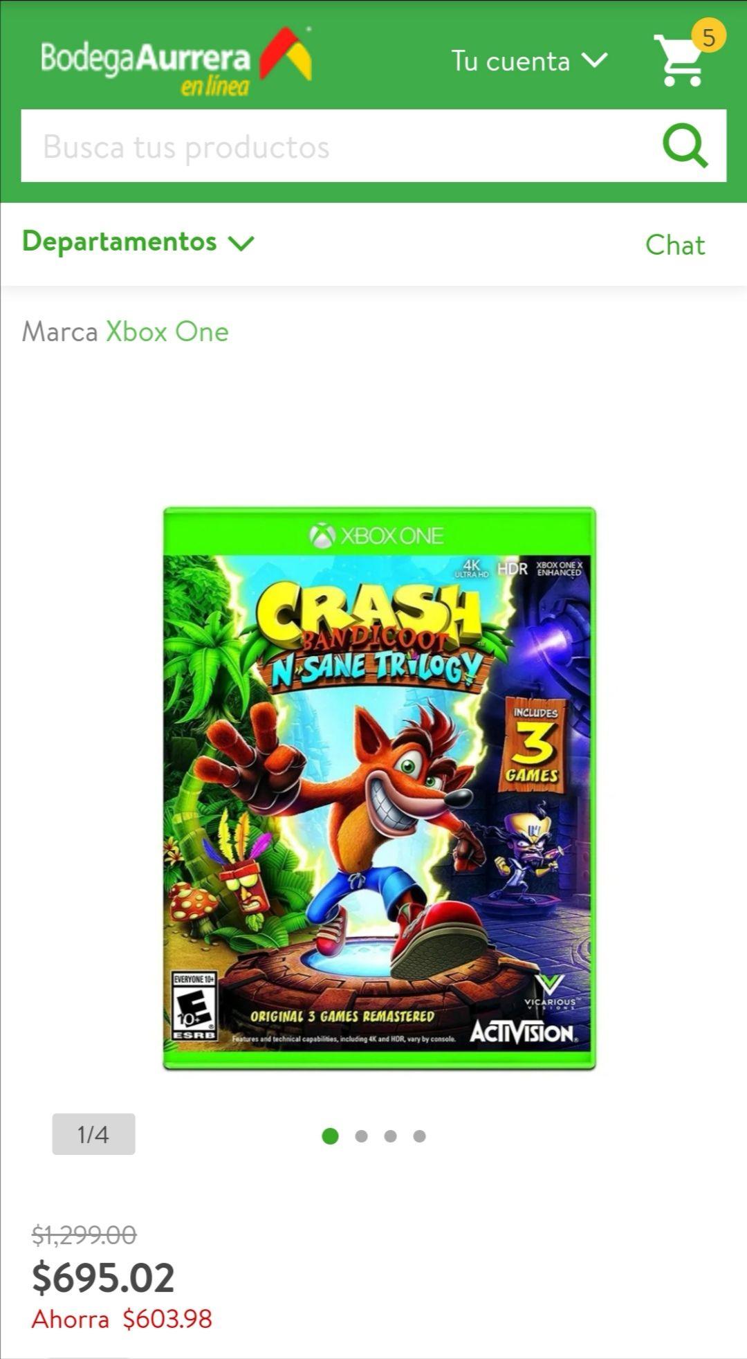Bodega Aurrera: Crash Bandicoot N Sane Trilogy Xbox One Físico