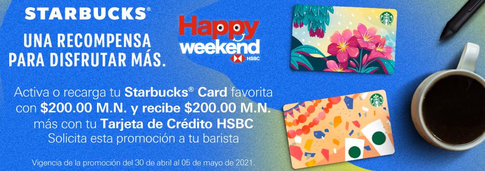 Starbucks: Recarga $200 y recibe $200 adicionales con TDC HSBC