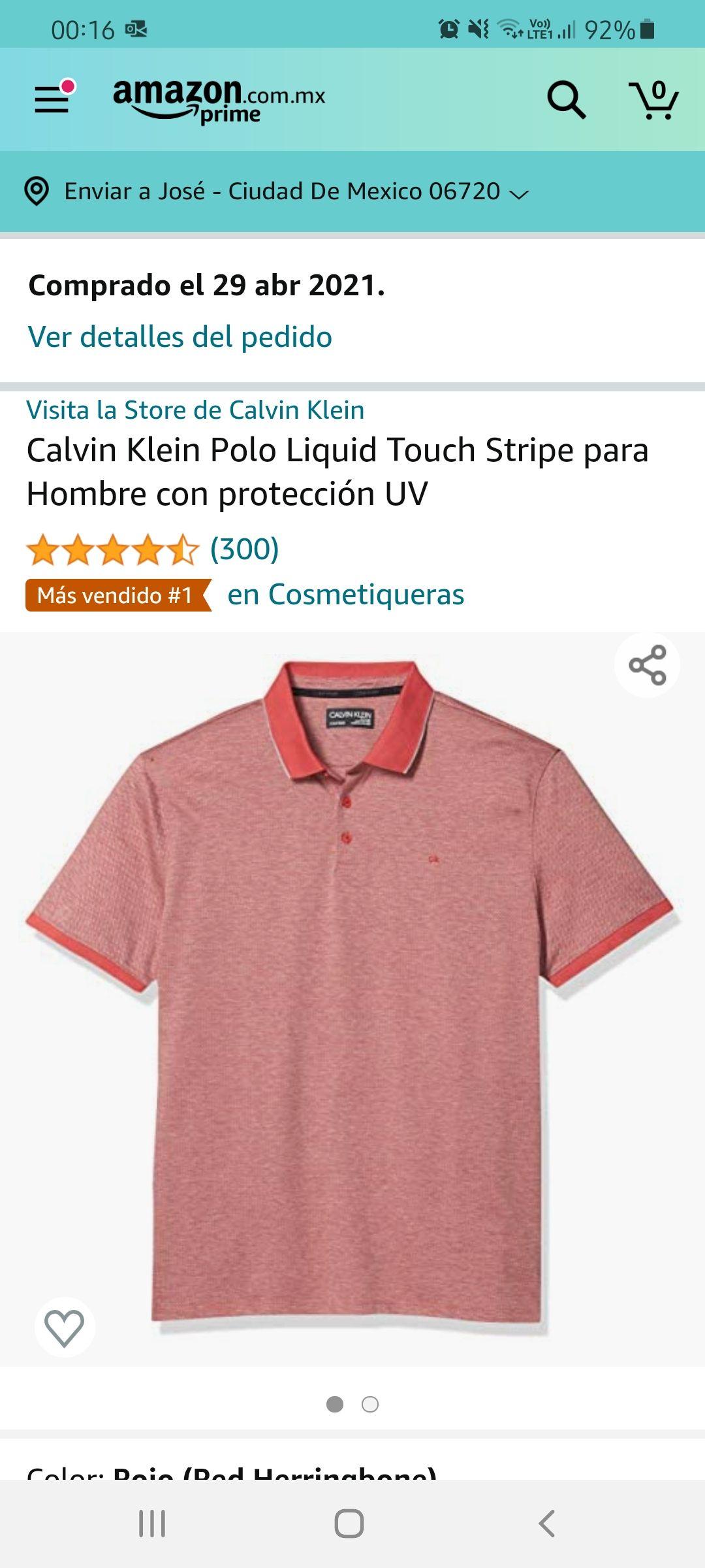 Amazon: Polo Calvin Klein Talla M