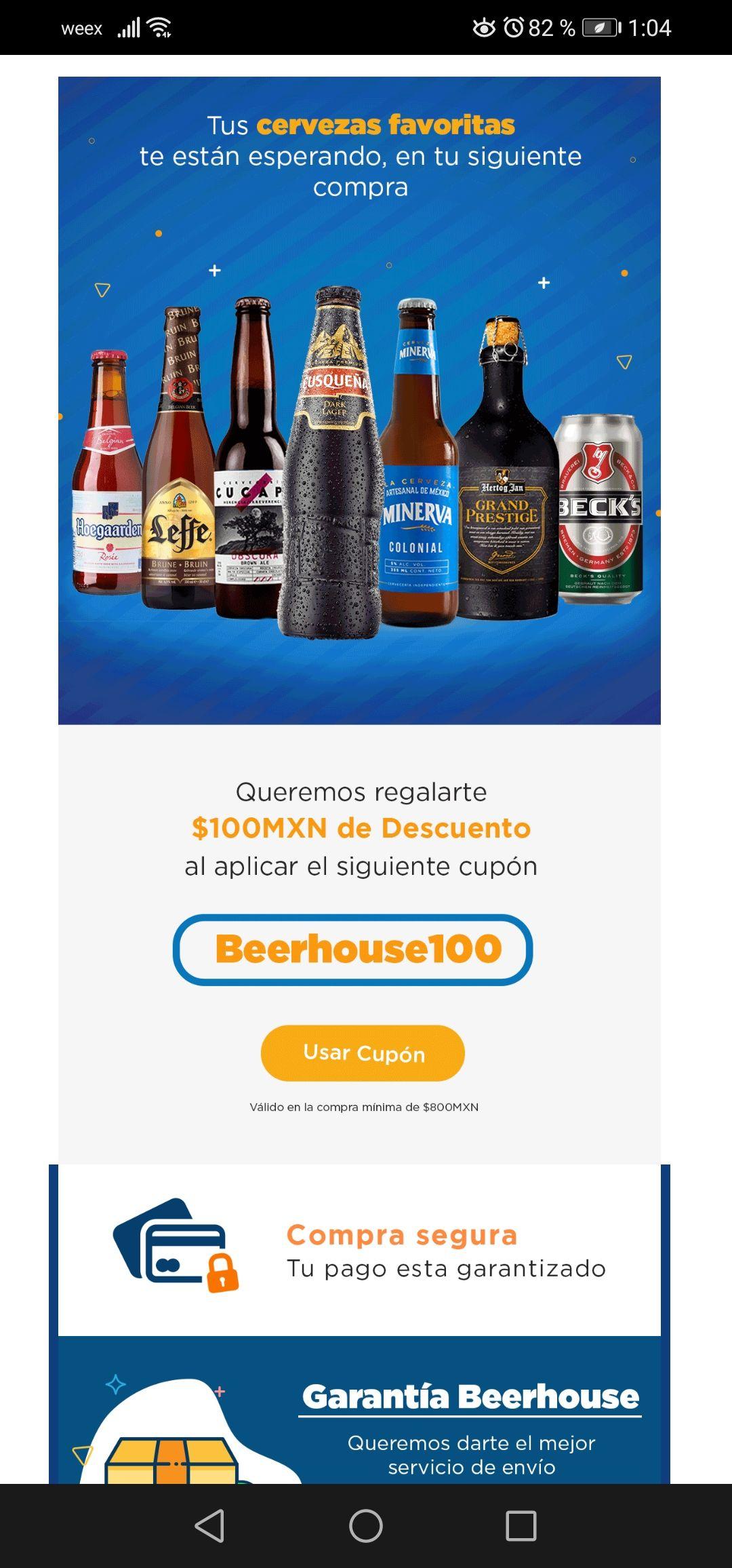 Beerhouse: Cupón de $100 de descuento al comprar $800