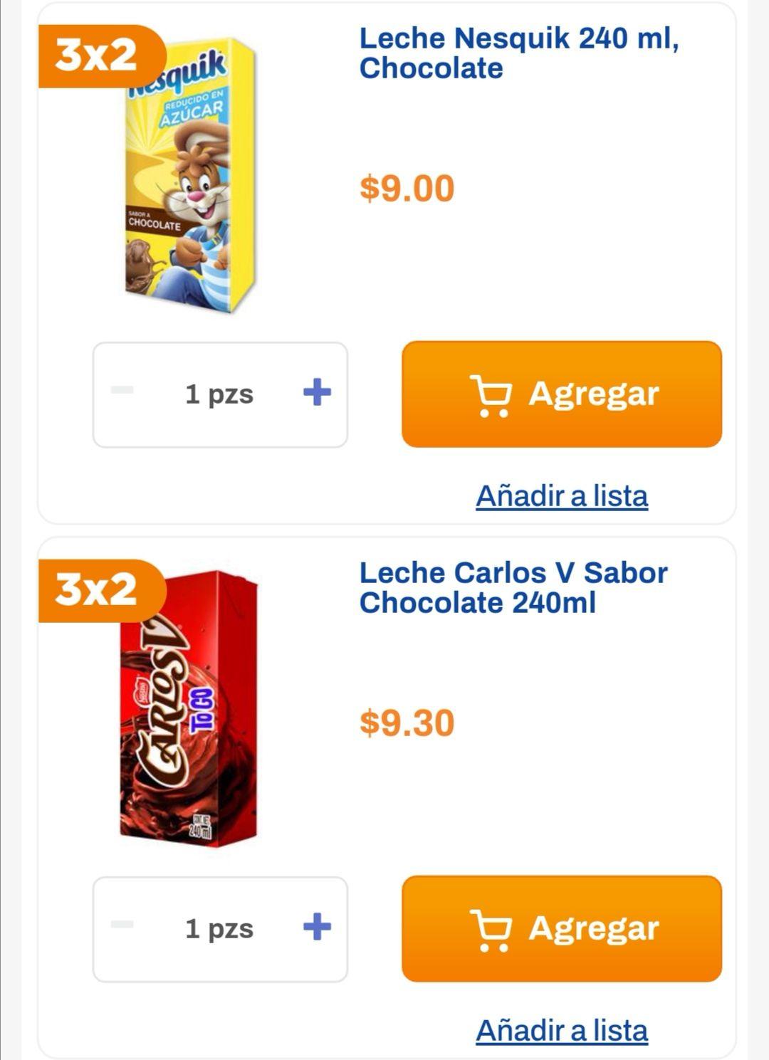 Chedraui: 3 x 2 en Leches Nesquik chocolate 240 ml y Carlos V chocolate 240 ml