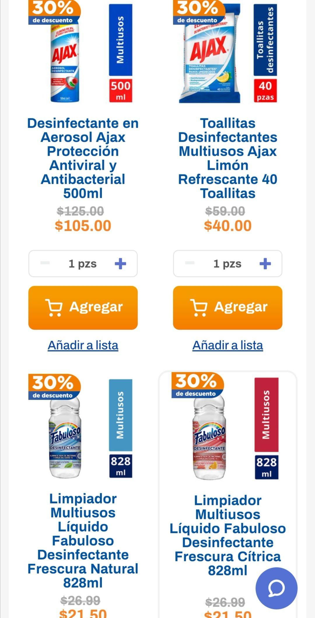 Chedraui: 30% de descuento en Fabuloso 828 ml y 1.7 L y limpiadores Ajax