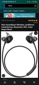 Amazon: Bose SoundSport Wireless, Audifonos Inalambricos, Bluetooth, NFC, Color Negro Black