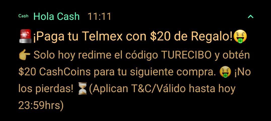 Cupon hola cash de 20 pesitos (usuarios seleccionados creo)