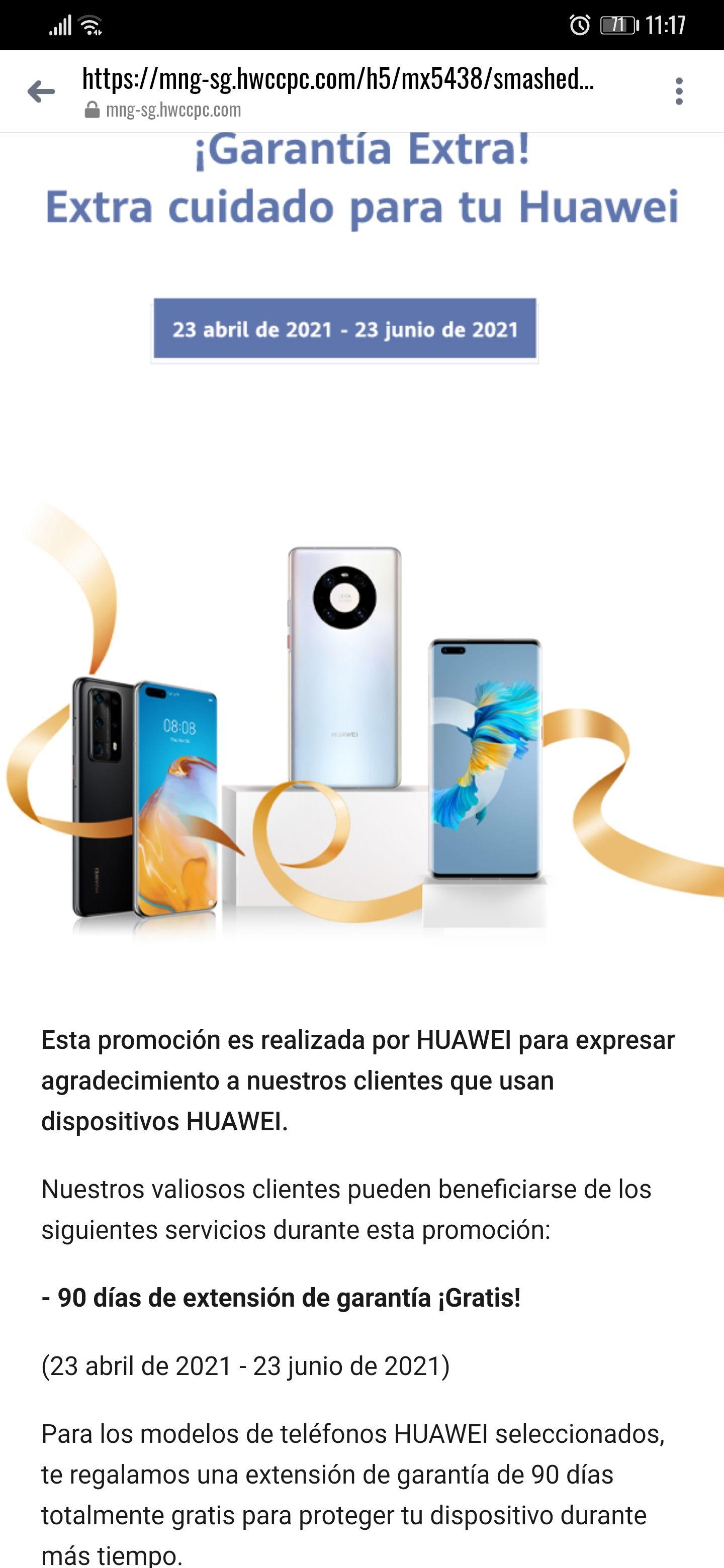 Huawei: 90 Dias Extra de Garantía Celulares Participantes