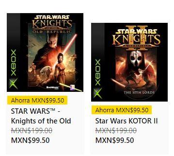 Microsoft Store: STAR WARS™ KOTOR 1 y 2 C/U - Xbox One y Xbox Series S|X