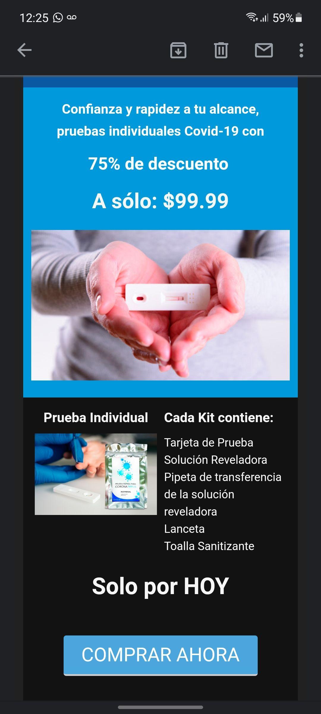 Waldo's Solo por hoy Pruebas individuales COVID a solo $99