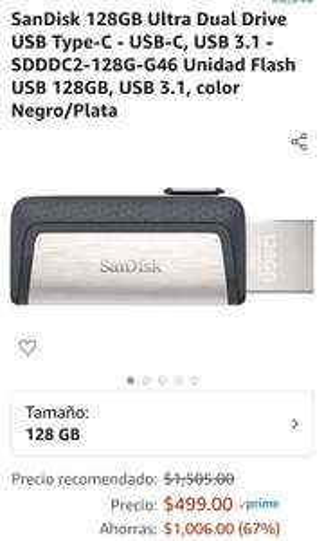 Amazon: Memoria DUAL USB-C SanDisk 128GB
