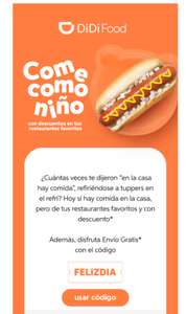 Envío gratis con cupón Didi Food