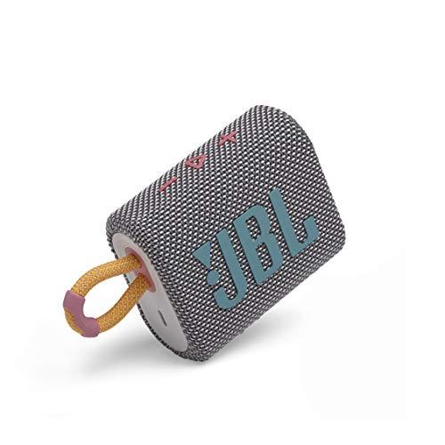 Amazon: JBL Go 3: Altavoz portátil con Bluetooth, batería incorporada, Resistente al Agua y al Polvo, Color Gris