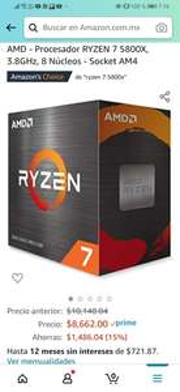 Amazon: AMD - Procesador RYZEN 7 5800X