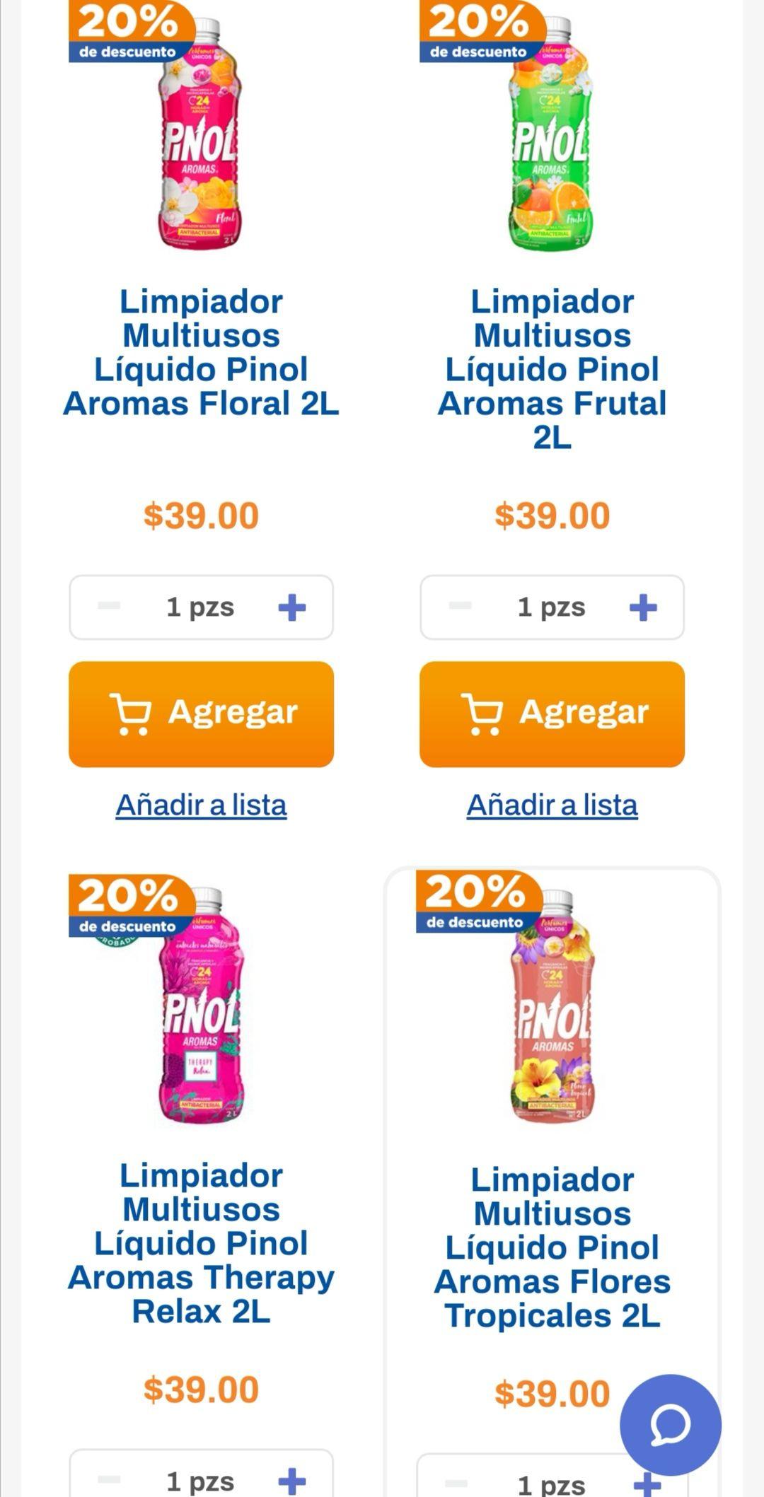 Chedraui: 20% de descuento en limpiadores Pinol 2 L y Cloralex Rendidor Gel 2 L