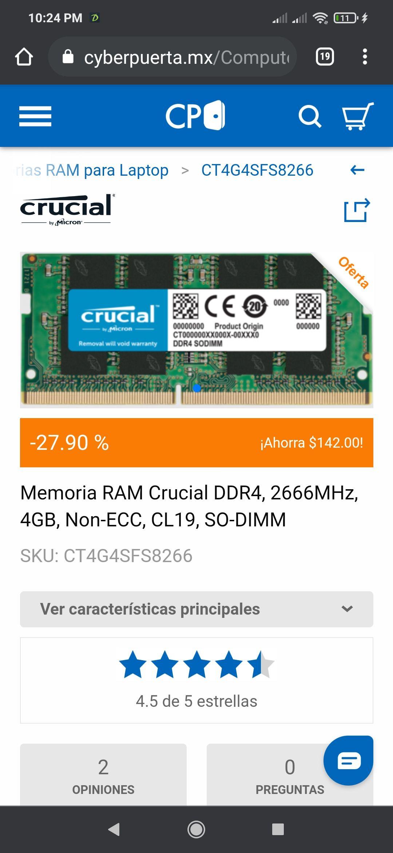 Cyber puerta: Ram ddr4 sodimm 4gb 2666 mhz