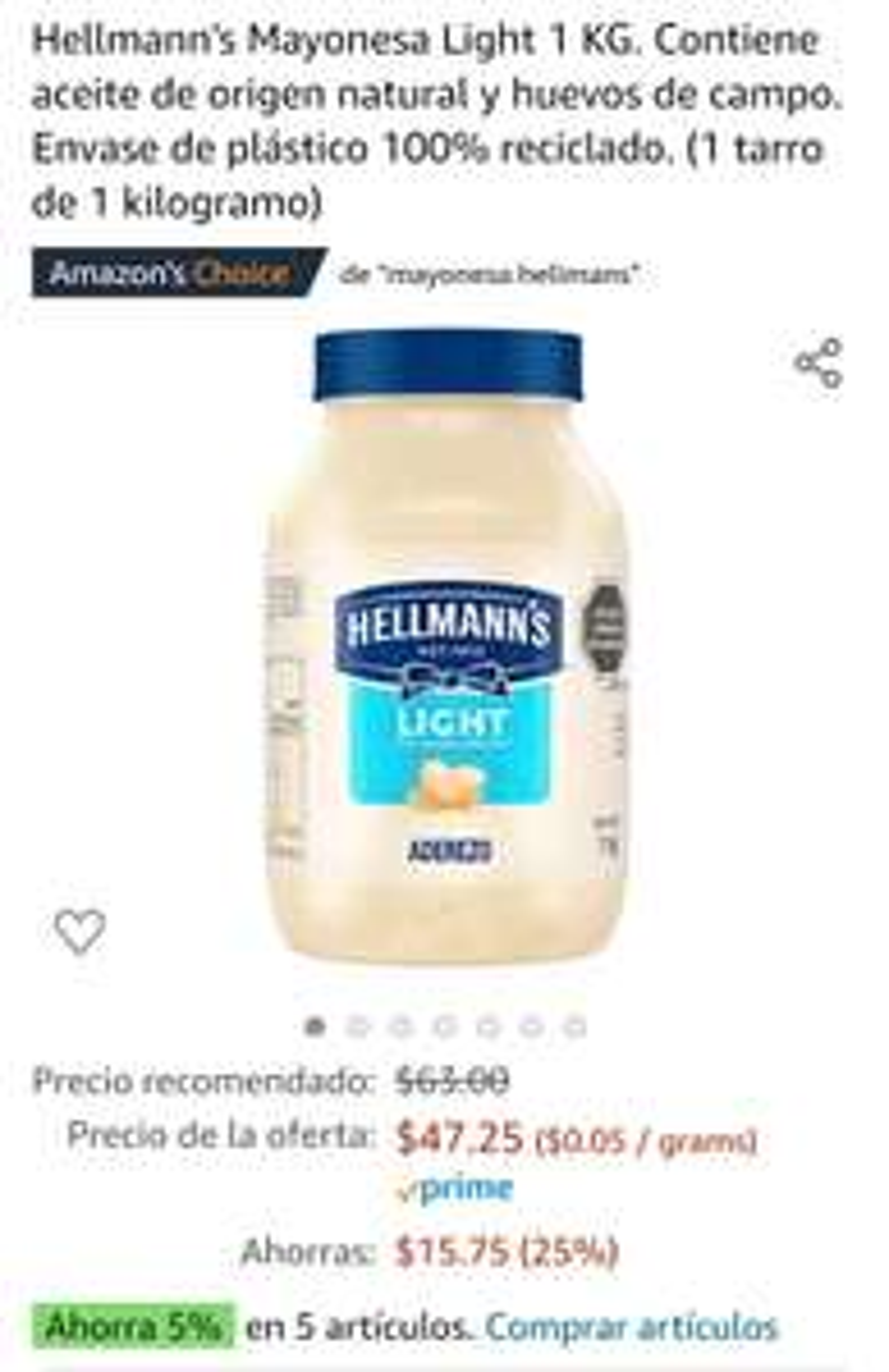 Amazon Mayonesa ligth hellmans 1 kg, Amazon
