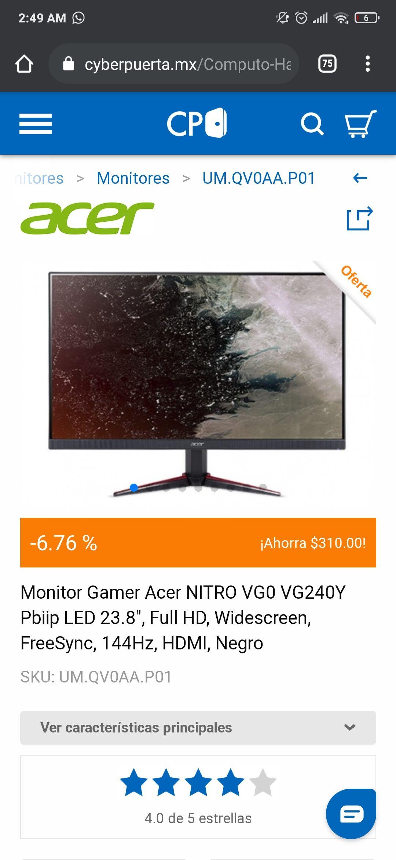 CyberPuerta Monitor Gamer Acer NITRO VG0 VG240Y