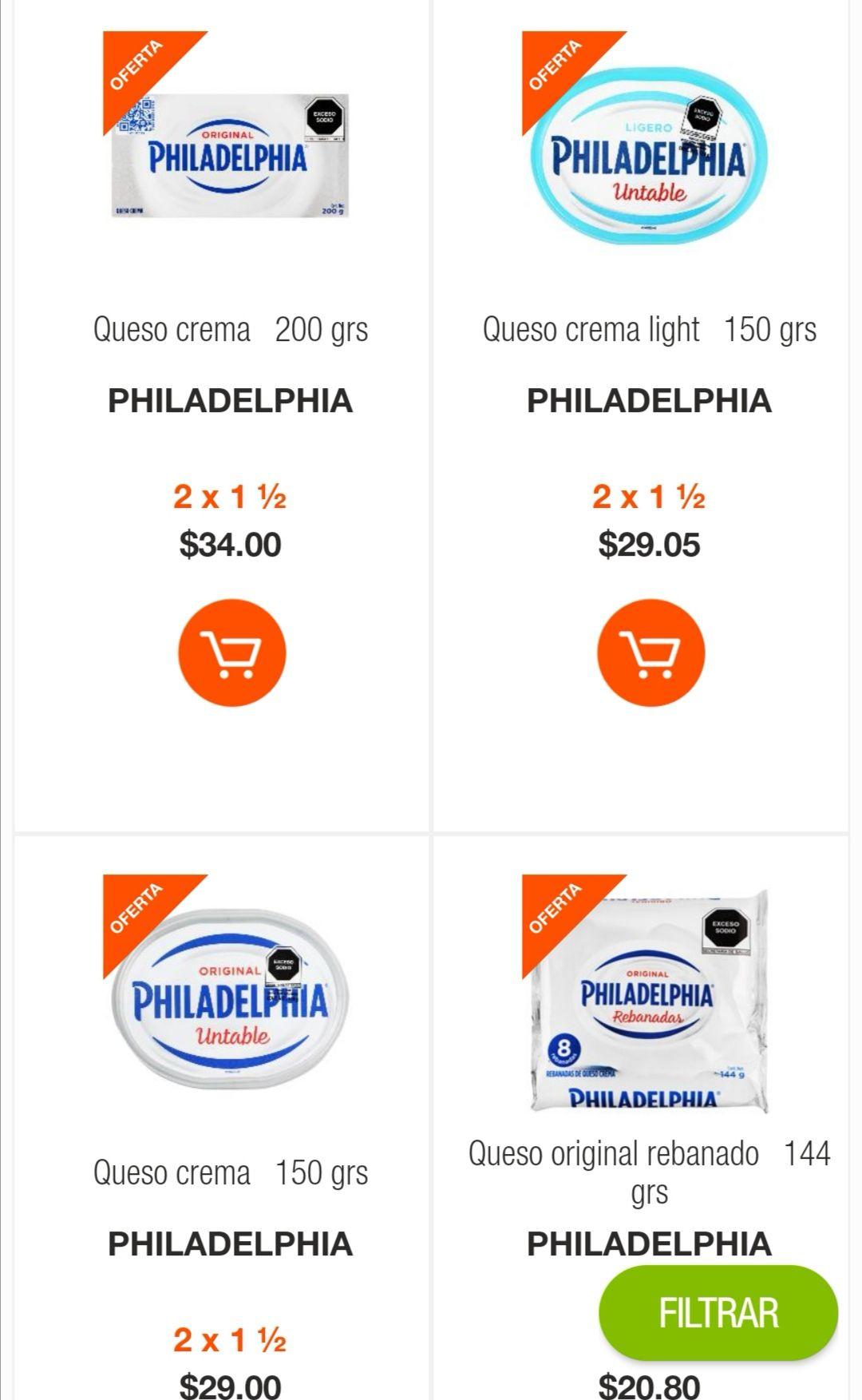 La Comer: 2 x 1½ en quesos Philadelphia seleccionados