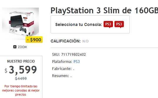 Gamers: PlayStation 3 160GB a $3,599 y Xbox 360 4GB con Kinect $3,999