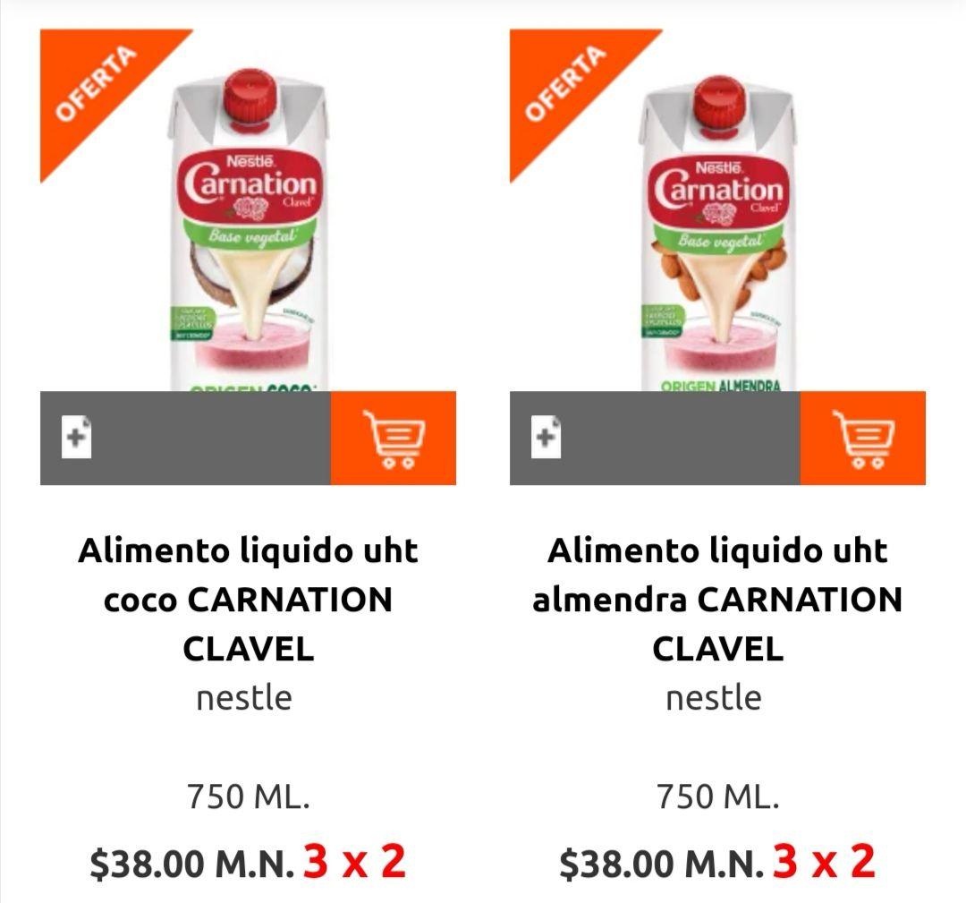 La Comer: 3 x 2 en alimentos líquidos Carnation ó Heartbeast del departamento de leche fresca