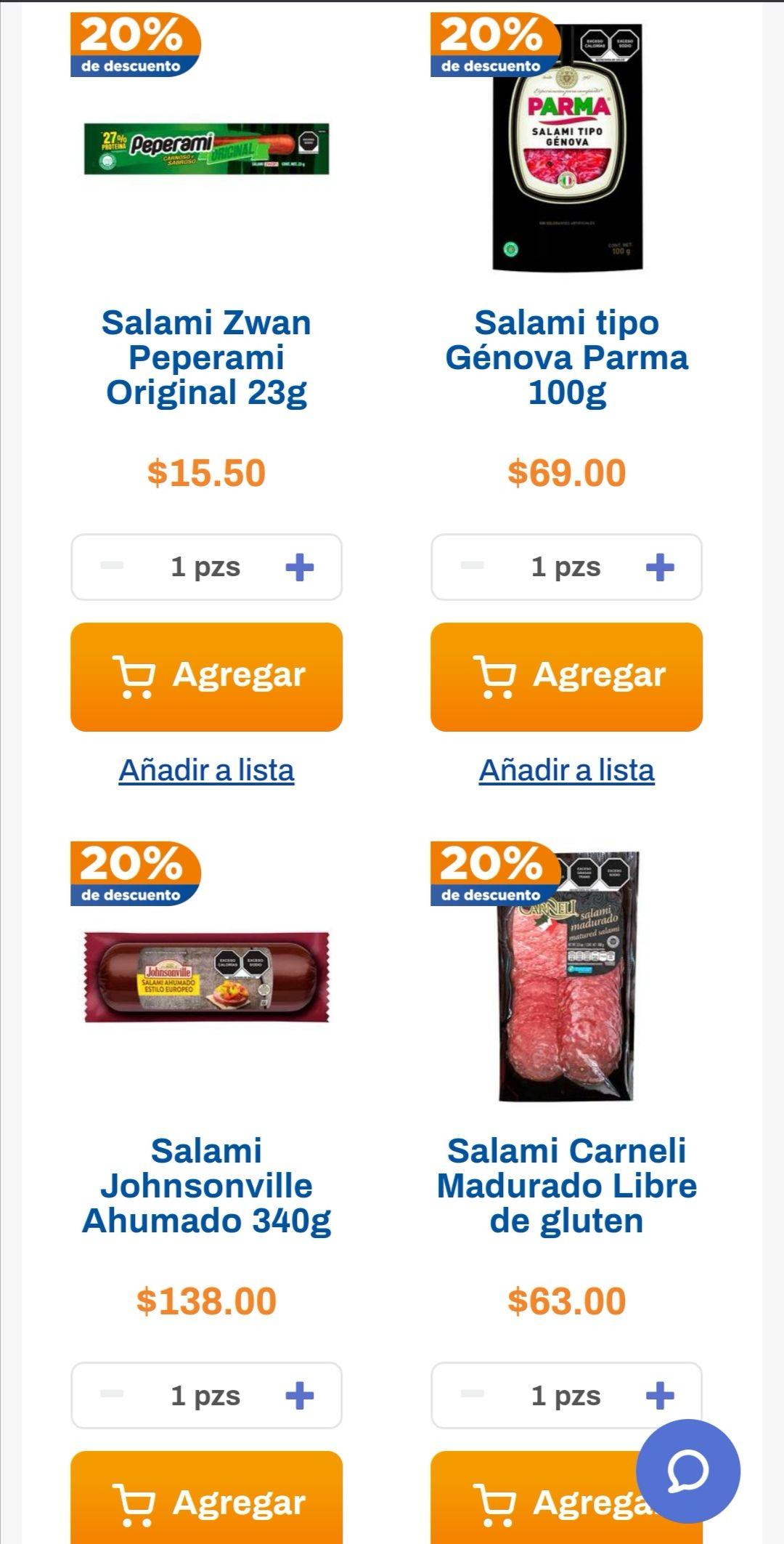 Chedraui: 20% de descuento en salamis empacados y snacks seleccionados del departamento de salchichonería
