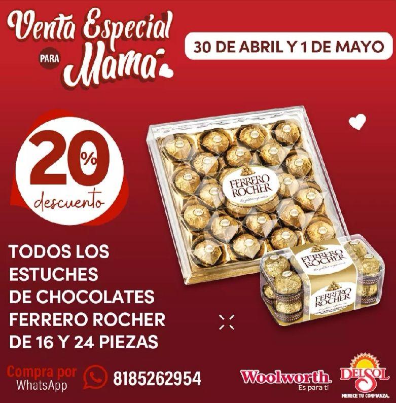 Del Sol y Woolworth: 20% de descuento en todos los estuches de chocolates Ferrero Rocher de 16 y 24 piezas