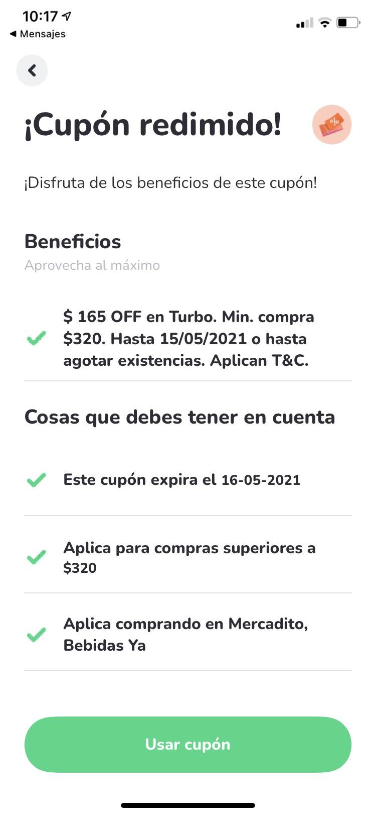 Rappi: Descuento de $165 MXN en Turbo