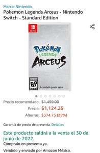 Amazon: Pokemon Legends Arceus - Nintendo Switch - Standard Edition (Preventa)