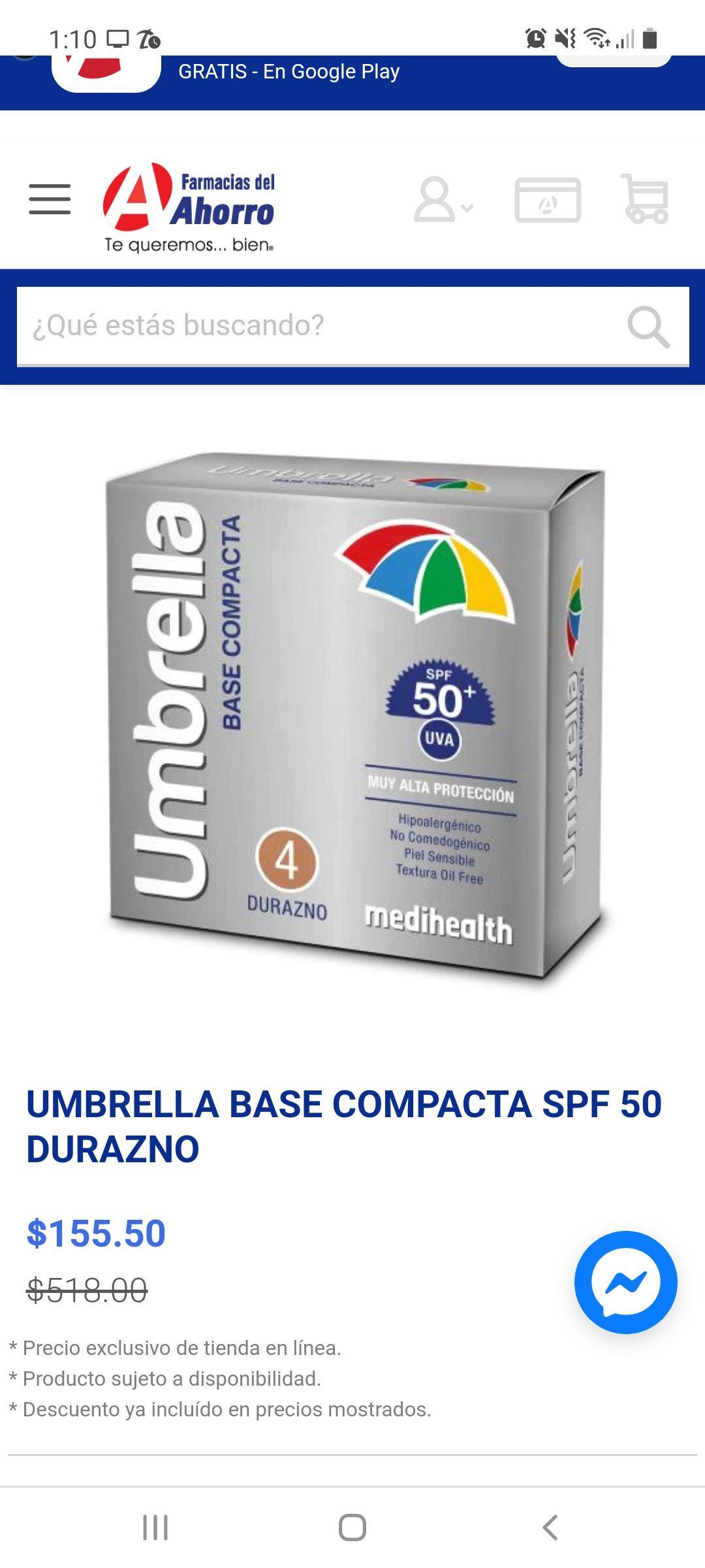 UMBRELLA BASE COMPACTA SPF 50 DURAZNO farmacia del ahorro