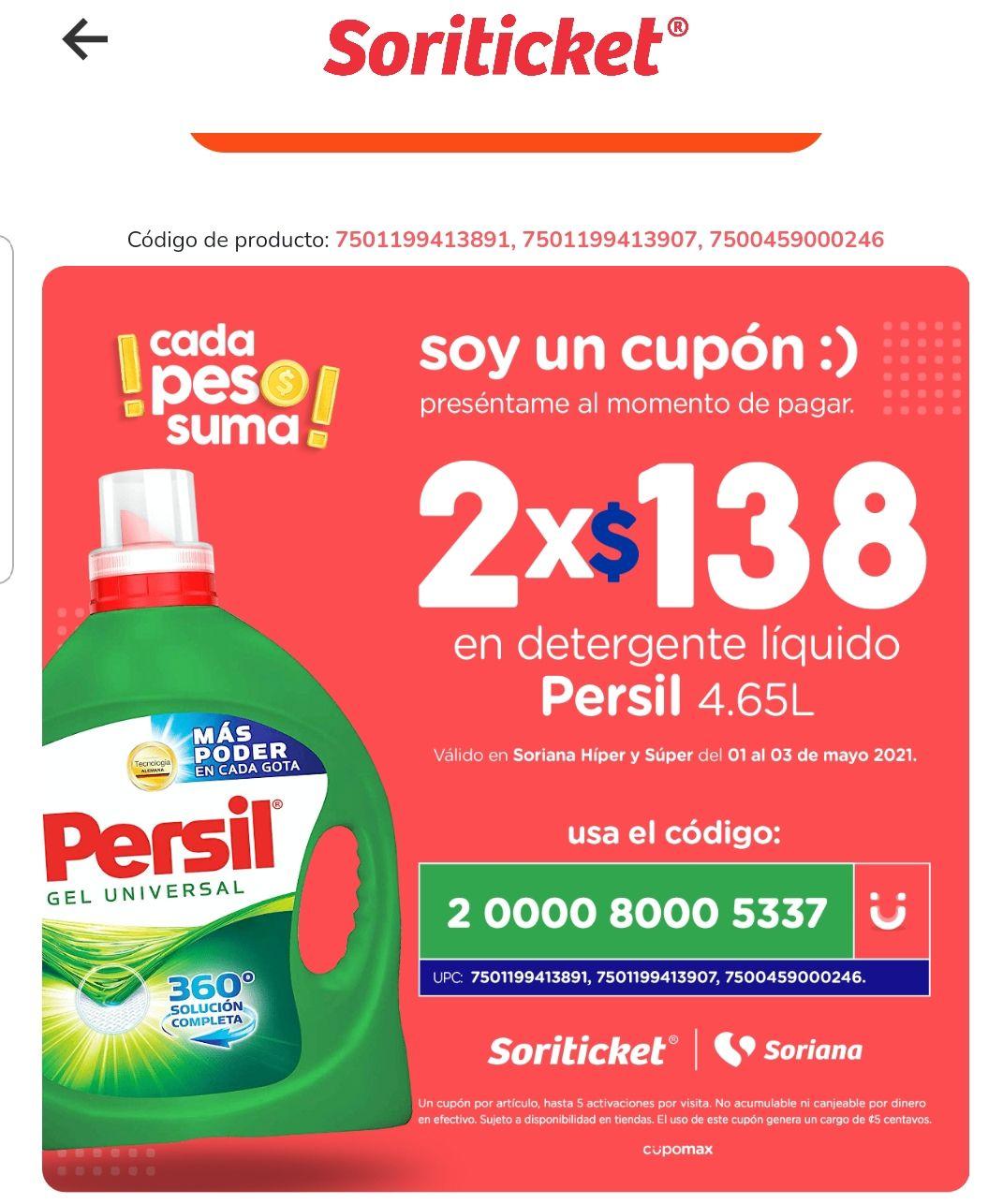 Persil 2x138 en Soriana con cupón