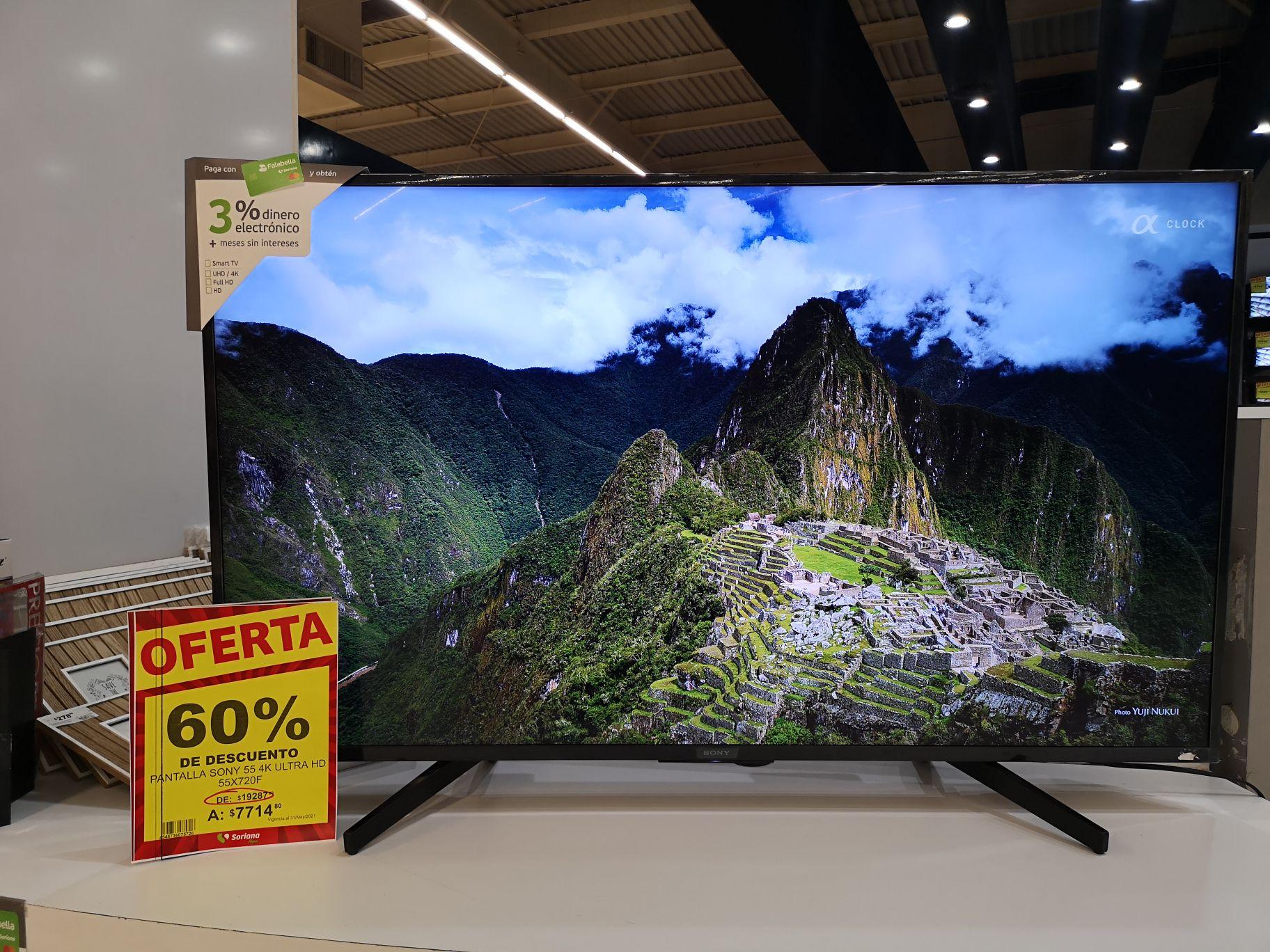 Soriana pantalla Sony 55 4K ultra HD