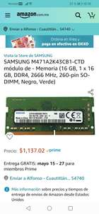 Amazon : Samsung Memoria RAM (16 GB, 1 x 16 GB, DDR4, 2666 MHz, 260-pin SO-DIMm