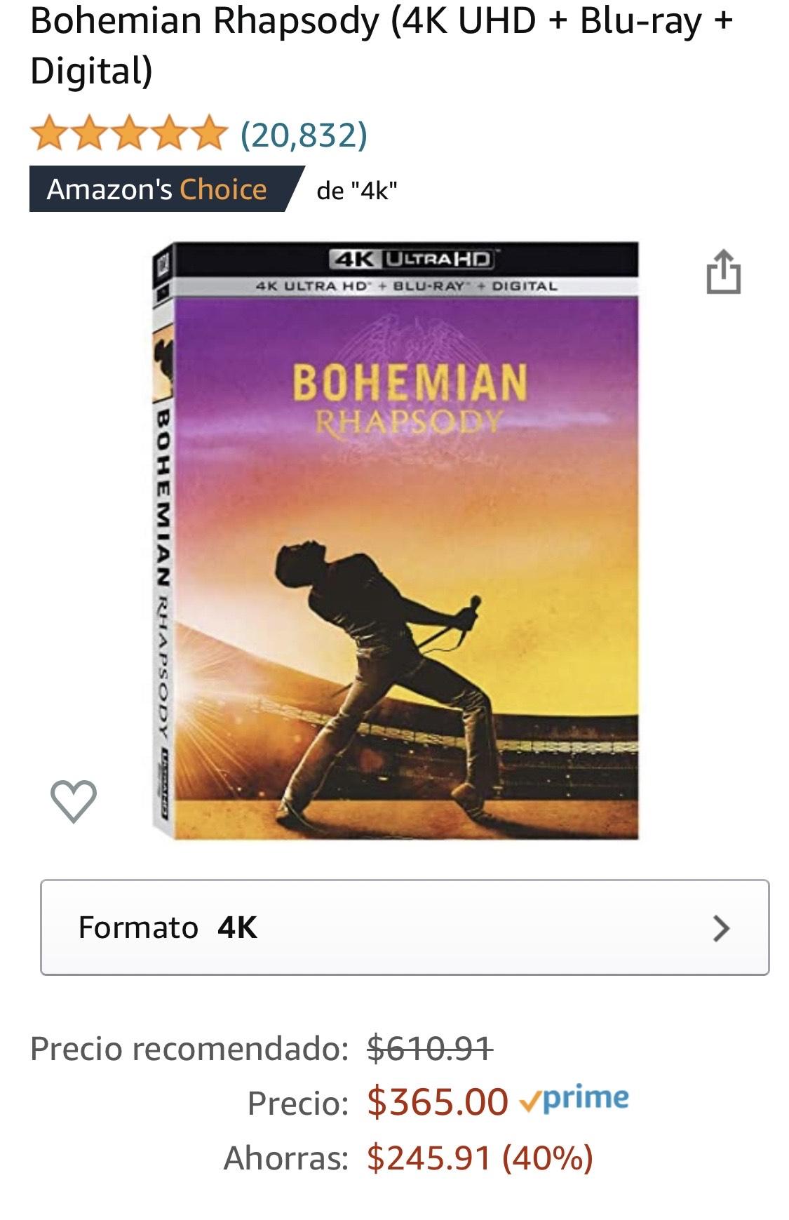 Amazon Bohemian Rhapsody Blu-ray 4K