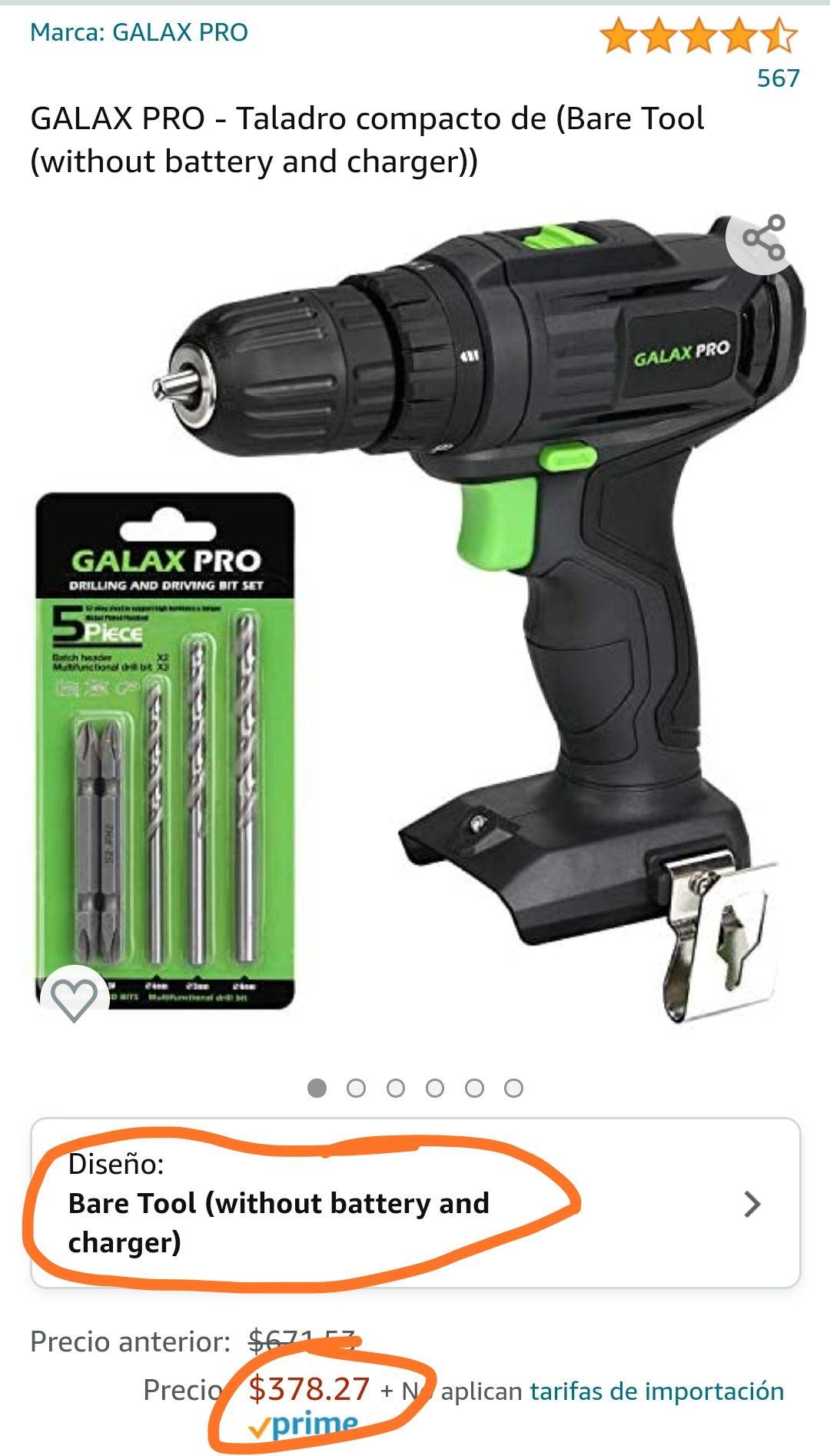 Amazon: Taladro-Atornillador de 2 velocidades Galax Pro 20V   Sin batería ni cargador   Envío gratis con Prime   $378.27