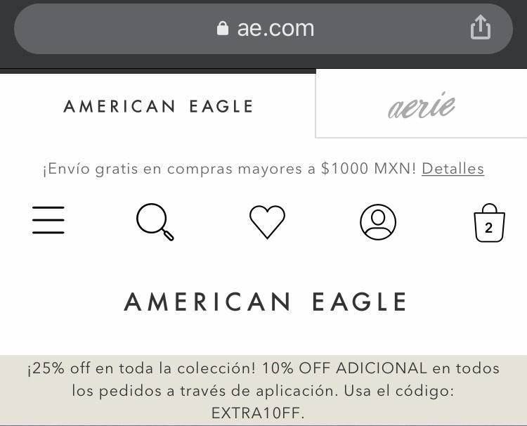 American Eagle 10% de descuento extra pidiendo por la aplicación