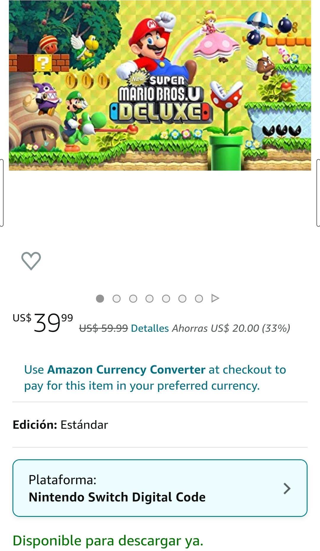 Amazon USA: Nintendo Switch: Super Mario Bros. U Deluxe Digital