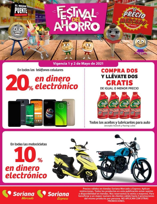 Soriana Mercado y Express: 20% de dinero electrónico en todos los teléfonos celulares... 4 x 2 en aceites y lubricantes para auto