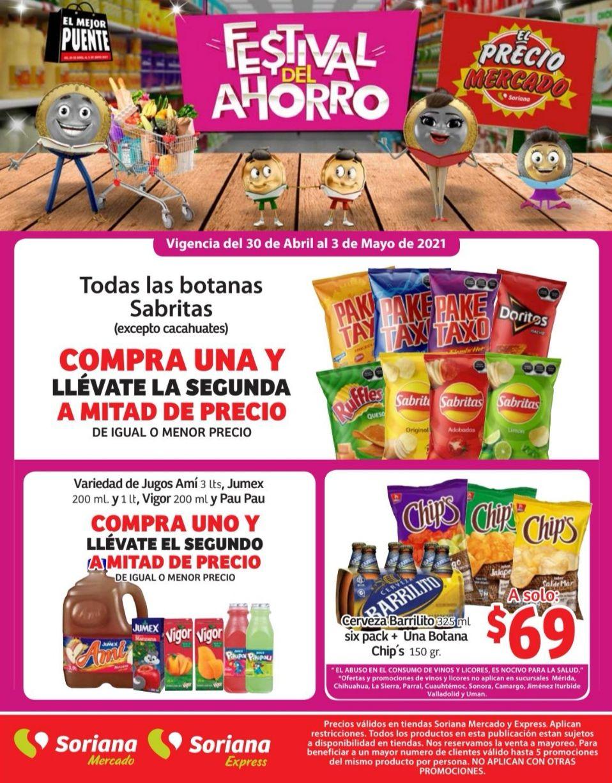 Soriana Mercado y Express: 2 x 1½ en botanas Sabritas, Jugos Ami 3 L, Jumex 200 ml y 1 L, Vigor 200 ml y Pau Pau