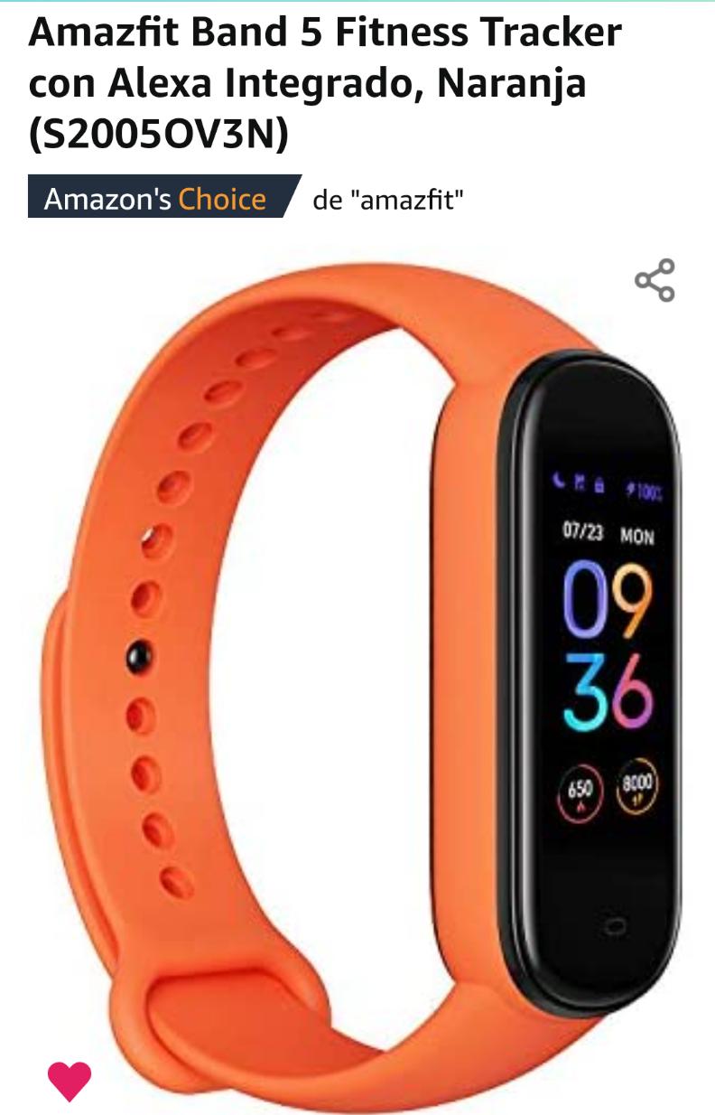 Amazon: Amazfit band 5/naranja