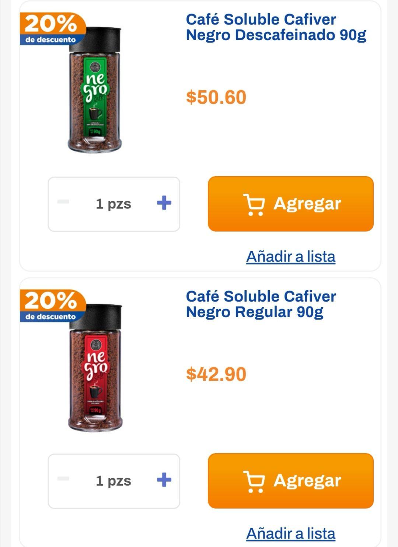 Chedraui: 20% de descuento en café soluble Cafiver regular o descafeinado 90 g