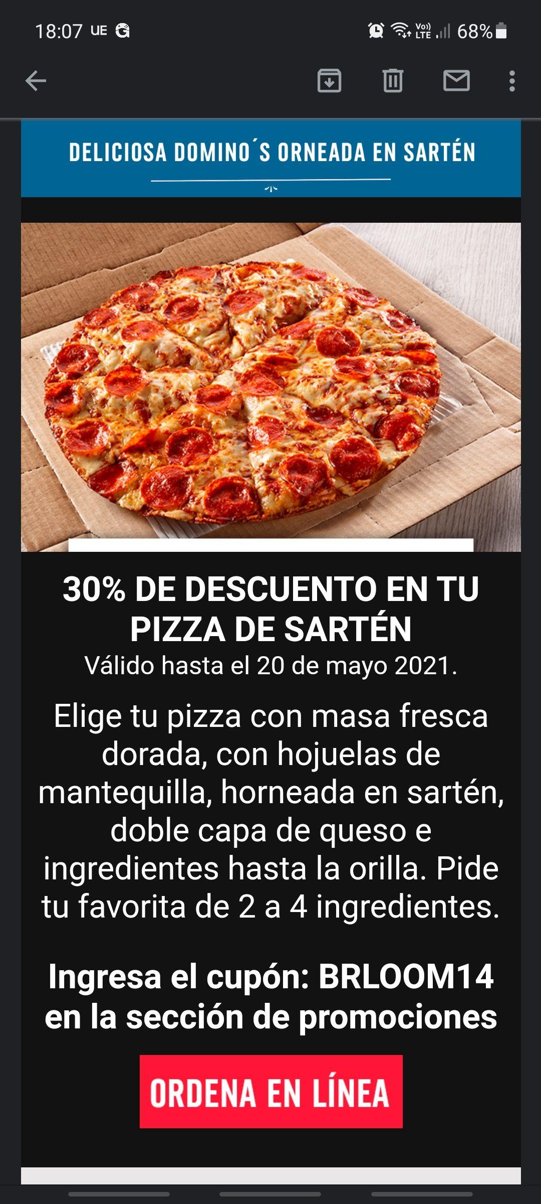 Domino's Pizza: 30% PIZZA SARTEN 2-4 INGREDIENTES
