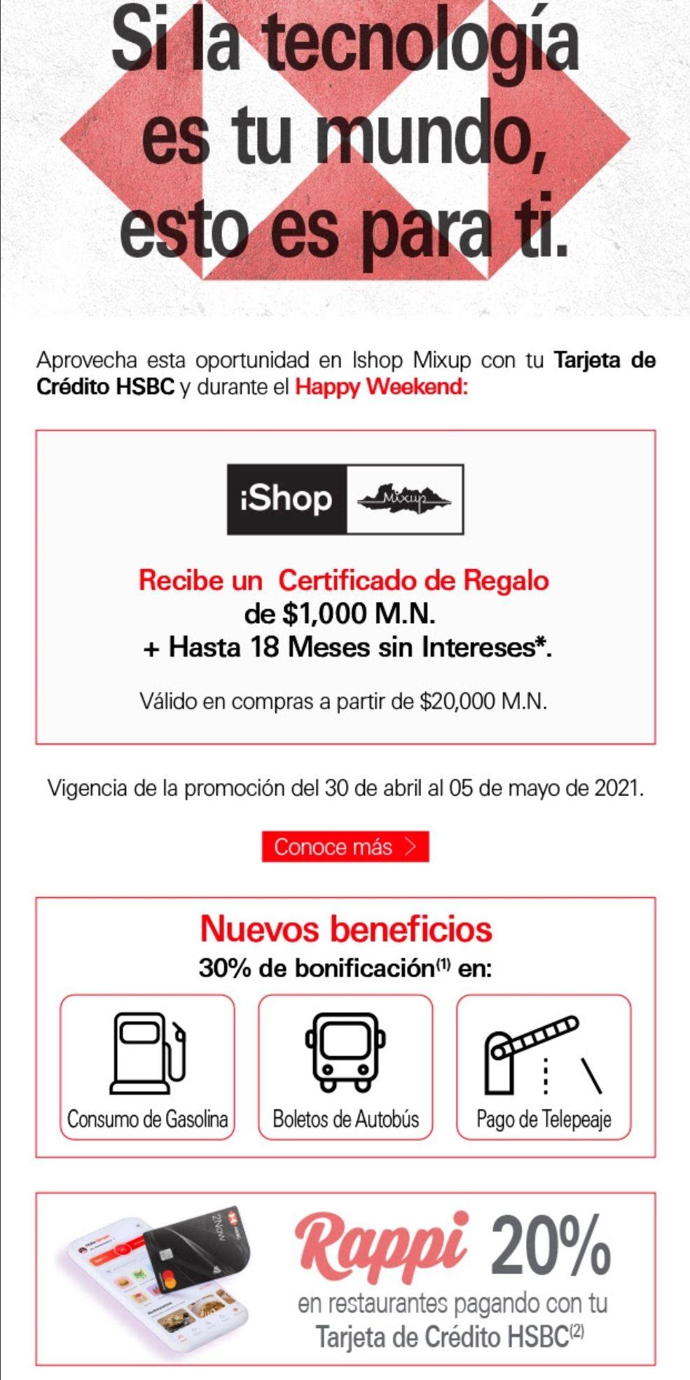 HSBC: certificado de regalo de 1000 pesos en compras realizadas en iShop