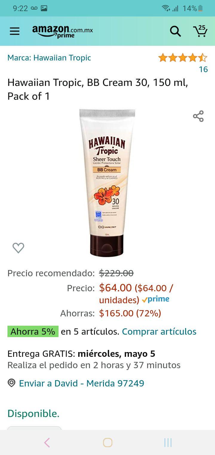 Amazon: locion con protección solar hawaian tropic de 150ml a buen precio