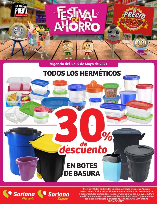 Soriana Mercado y Express: 30% de descuento en herméticos y botes de basura
