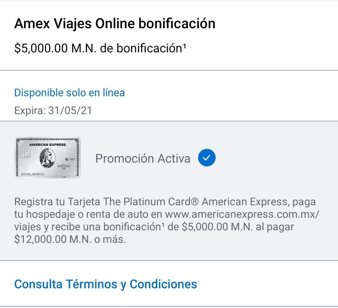 American Express: Bonificación de $5,000 al gastar $12,000 en Amex Viajes (Hotel o Auto)