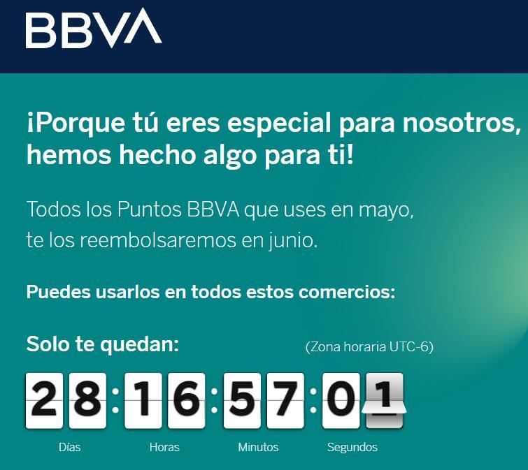 BBVA rembolsa los puntos que gastes en Mayo (usuarios seleccionados)