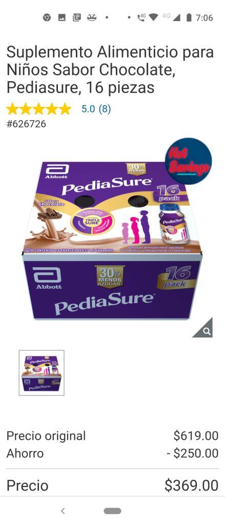 Costco: Suplemento Alimenticio para Niños Sabor Chocolate, Pediasure, 16 pz