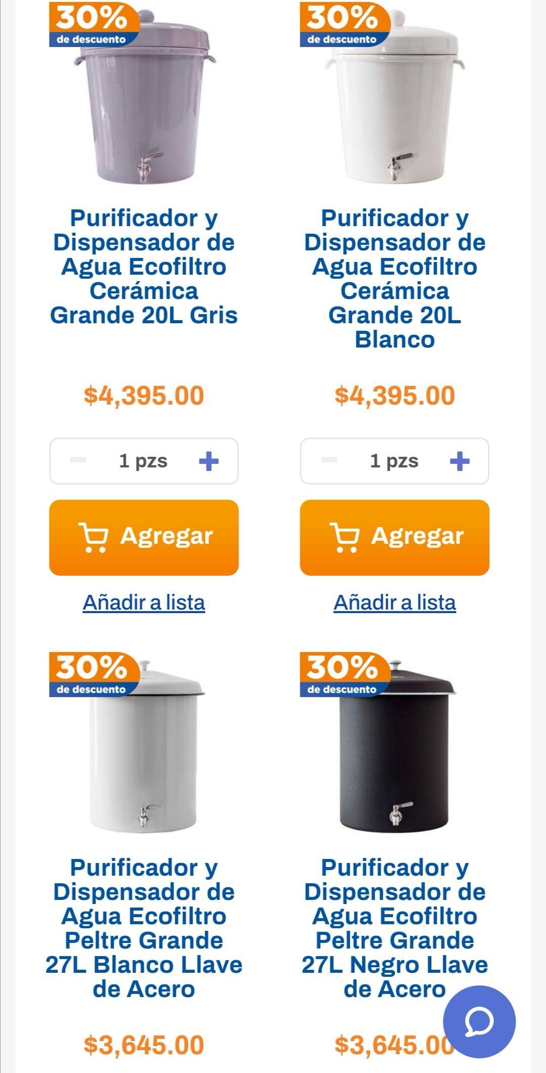 Chedraui: 30% de descuento en purificadores y dispensadores Ecofiltro