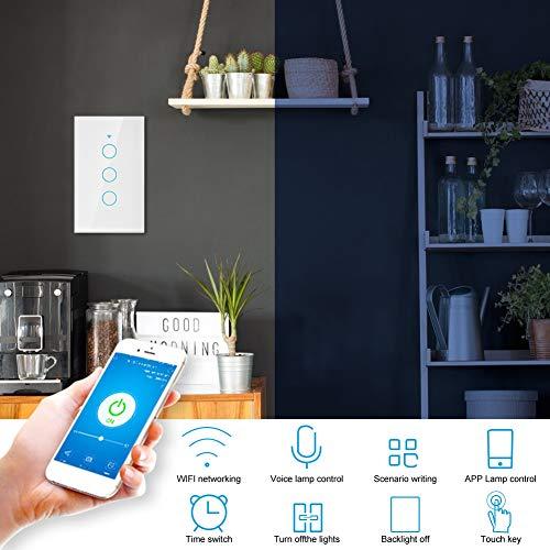 Amazon: Interruptor de luz inteligente, Interruptor de pantalla táctil WiFi Círculo único Compatible con Alexa Google