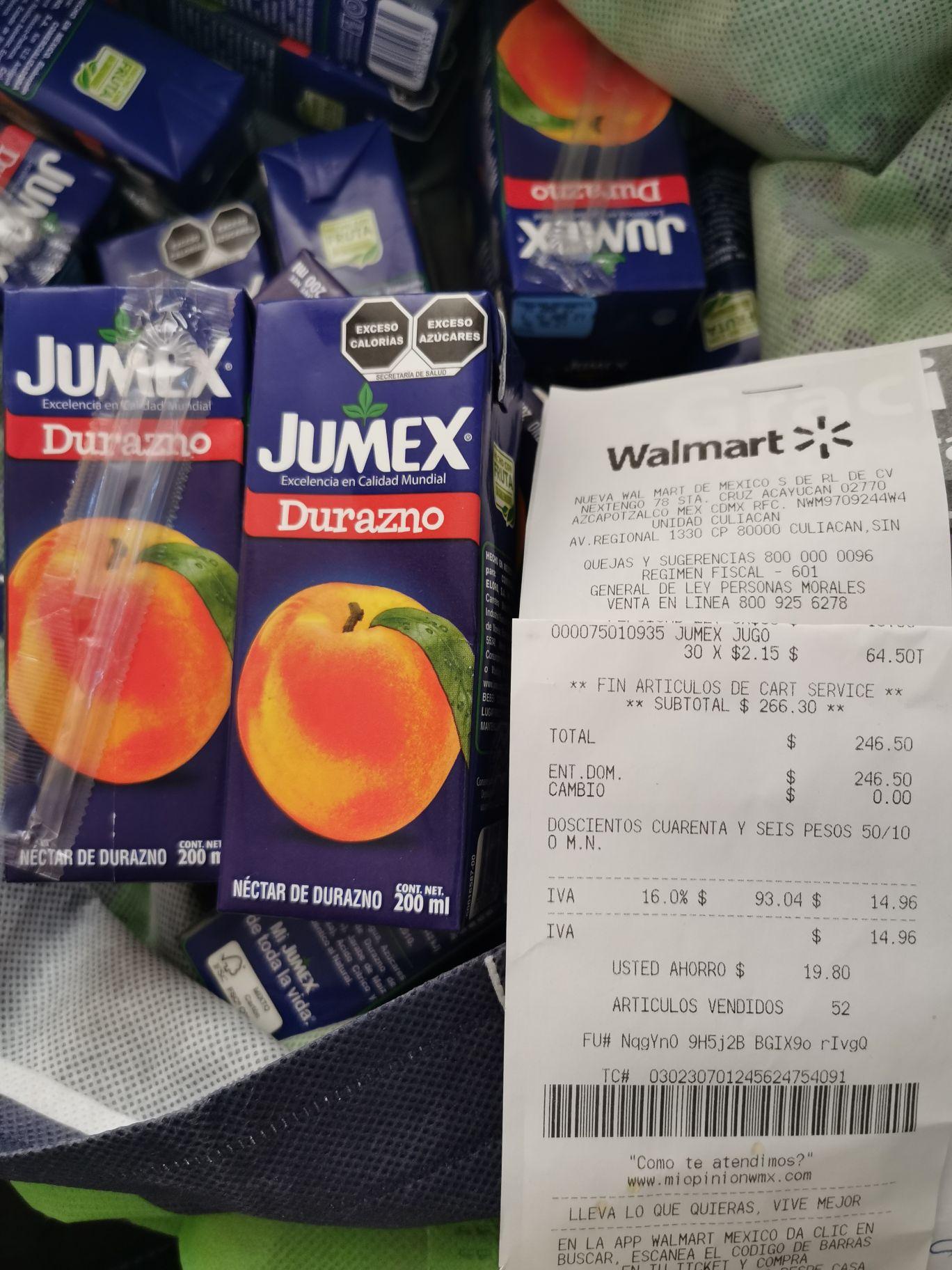 Walmart Culiacán: Jugo Jumex Durazno de 200ml