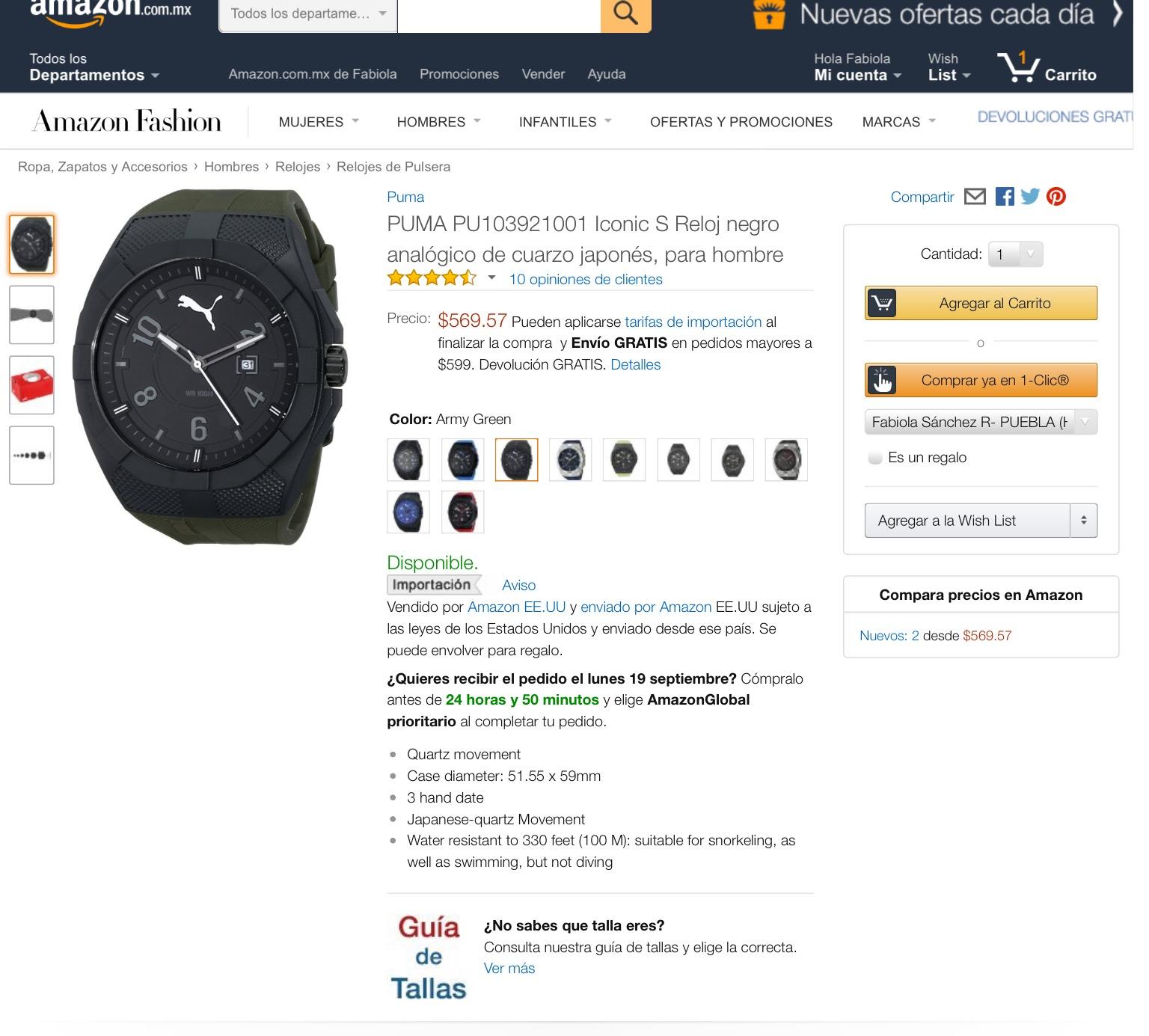 Amazon: reloj PUMA PU103921001 solo color army green
